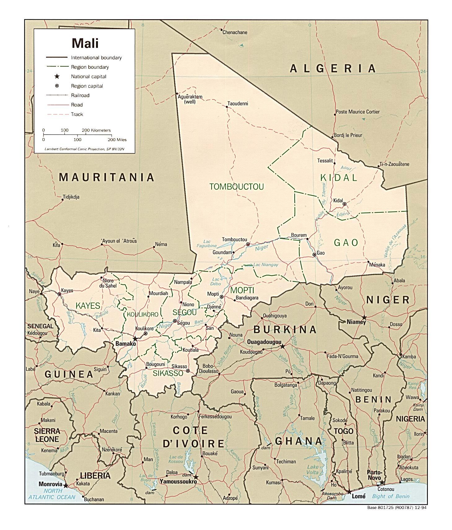 Mali Land Kort Kort Over Mali Land Det Vestlige Afrika Afrika