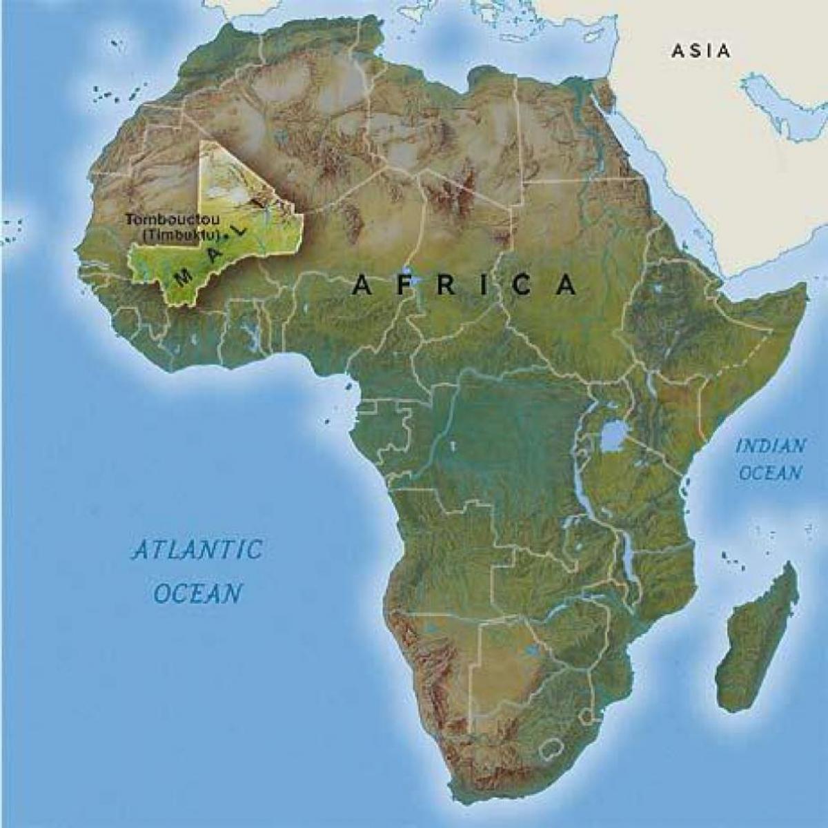 Mali Afrika Kort Mali I Vestafrika Kort Det Vestlige Afrika